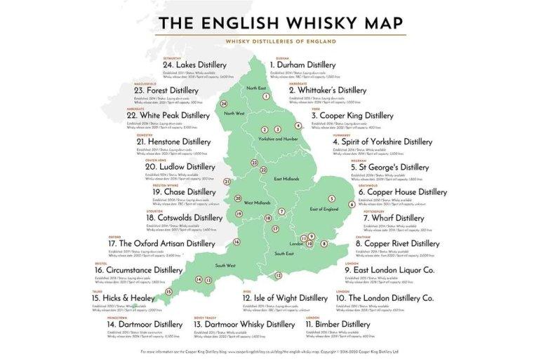 Engish whisky map